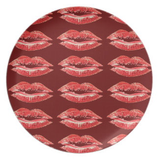 Red Kiss Lips Collectors Plate