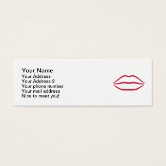 Red kiss lips mini business card