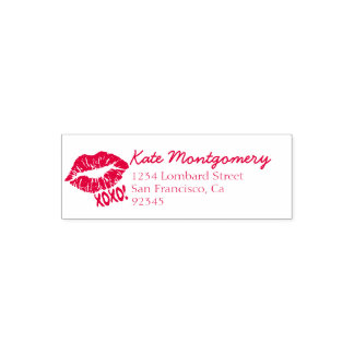Red Kiss Lips XOXO Return Address Rubber Stamp