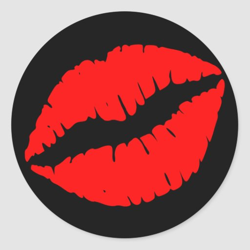 Red Kiss Round Stickers