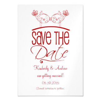 Red Kissing Birds Magnetic Save the Date Magnetic Card