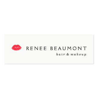 Red Kissing Lips Simple White Hair and Beauty Mini Business Card