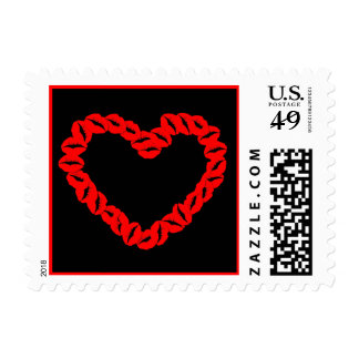 Red Kissy Lips Heart Postage