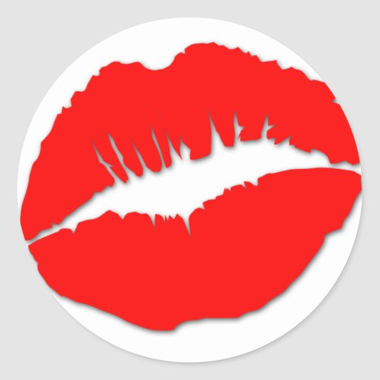 Red Kissy Lips Sticker