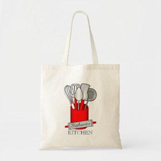 Red Kitchen Utensil Caddy   Rolling Pin Monogram Tote Bag