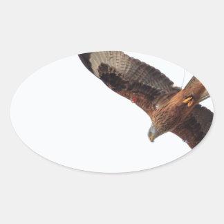 Red Kite In Sky Oval Sticker
