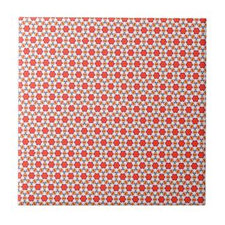 Red kitsch flower pattern ceramic tile