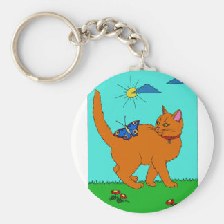 Red Kitty and Butterfly Basic Round Button Keychain