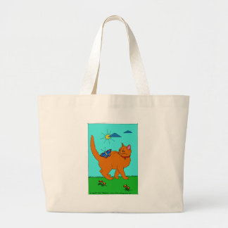 Red Kitty and Butterfly Large Tote Bag