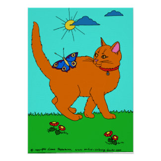 Red Kitty and Butterfly Poster