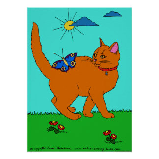 Red Kitty and Butterly Poster
