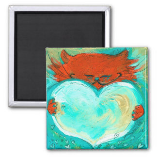 Red Kitty Heart 2 Inch Square Magnet