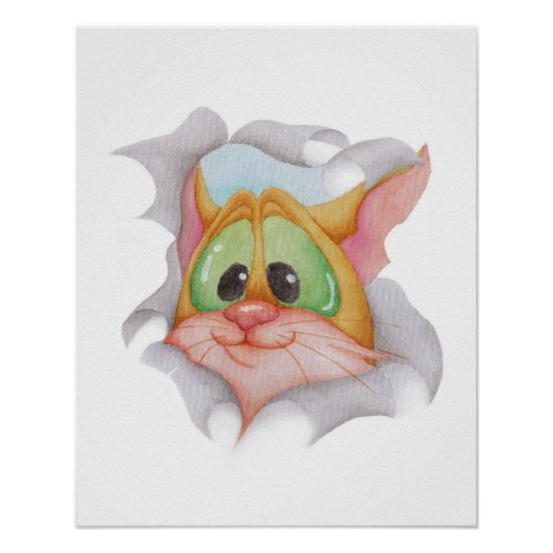 Red kitty in a hole _ watercolor painting poster