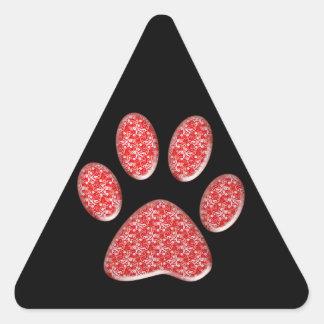 red kitty paw print triangle sticker