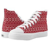 Red Knit Jumper Christmas Sweater Pattern High-Top Sneakers