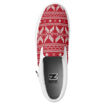 Red Knit Jumper Christmas Sweater Pattern Slip-On Sneakers