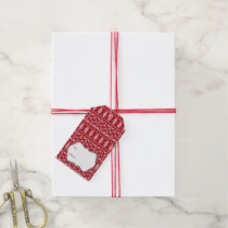 Red Knit Jumper ugly Sweater Pattern Gift Tags