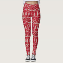 Red Knit Jumper ugly Sweater Pattern Leggings