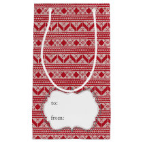 Red Knit Jumper ugly Sweater Pattern Small Gift Bag