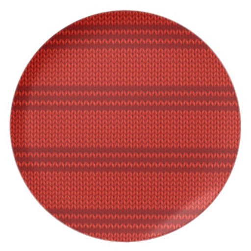 Red Knit Party Plates