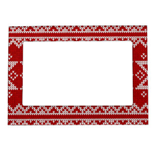 Red Knitted Stars Magnetic Picture Frame
