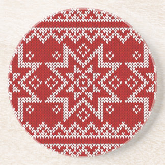 Red Knitted Stars Sandstone Coaster