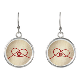 Red Knot Double Happiness Chinese Wedding Earrings