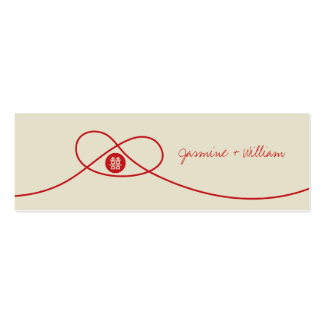 Red Knot Double Happiness Chinese Wedding Gift Tag Double-Sided Mini Business Cards (Pack Of 20)
