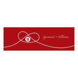 Red Knot Double Happiness Chinese Wedding Gift Tag Mini Business Card