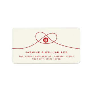 Red Knot Double Happiness Chinese Wedding Labels
