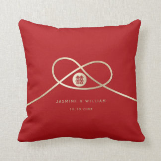 Red Knot Double Happiness Chinese Wedding Pillow