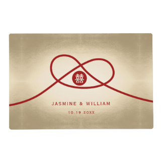 Red Knot Double Happiness Chinese Wedding Placemat