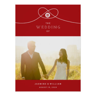 Red Knot Double Happiness Photo Wedding Poster