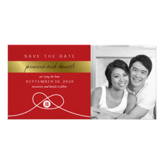 Red Knot Double Happiness Save The Date Photo Card