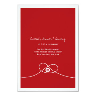 Red Knot Double Happiness Wedding Dinner Reception Card