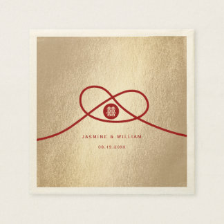 Red Knot Double Happiness Wedding Paper Napkins