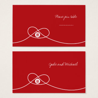 Red Knot Double Happiness Wedding Place Card