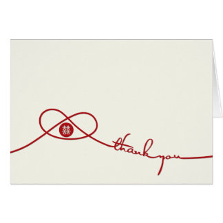 Red Knot Double Happiness Wedding Thank You Card