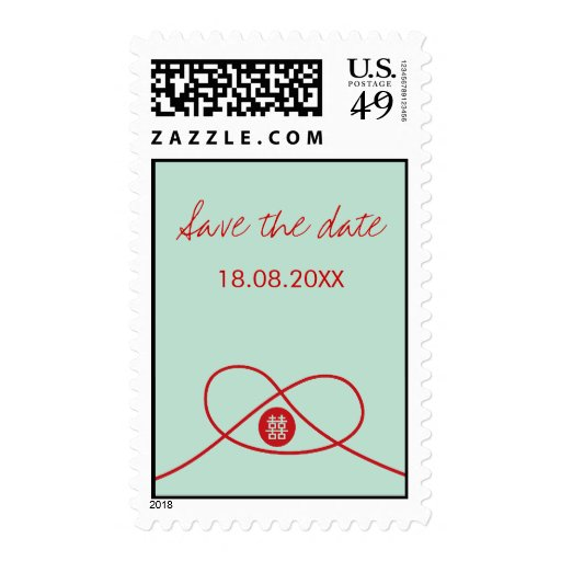 Red Knot + Double Xi Save The Date Wedding Stamps
