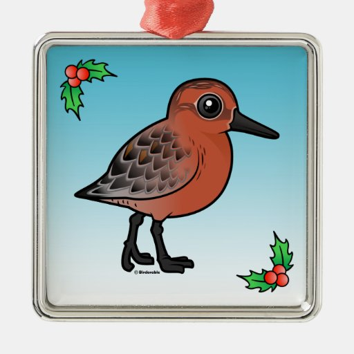 Red Knot Square Metal Christmas Ornament