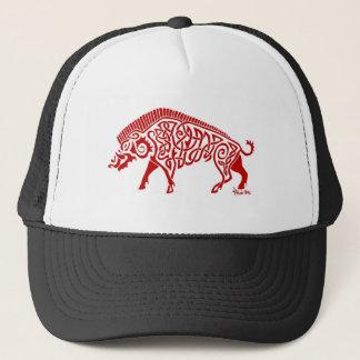 Red Knotwork Boar Trucker Hat