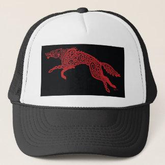 Red Knotwork Wolf on Black Trucker Hat