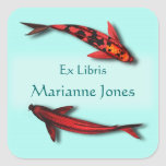 Red Koi Fish Bookplate Name Stickers