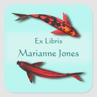 Red Koi Fish Bookplate Name Stickers