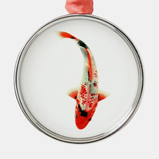 Red Koi Fish Metal Ornament