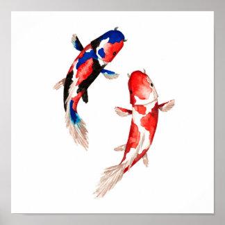 Red Koi Fish Poster