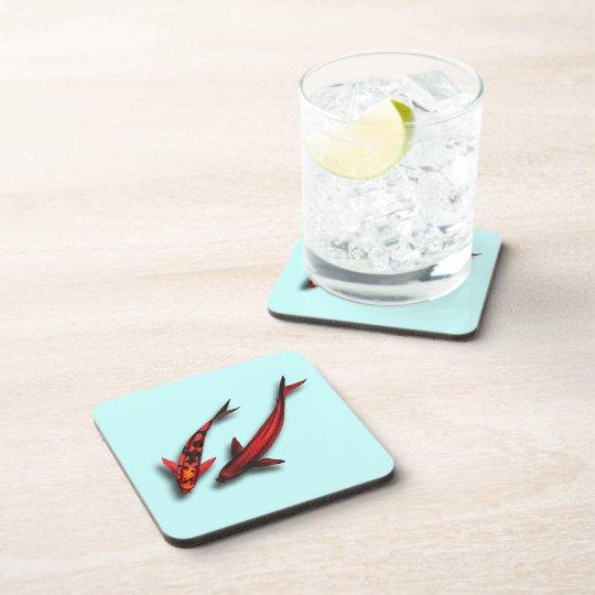 Red Koi Fish Square Cork Coaster