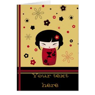 Red kokeshi card