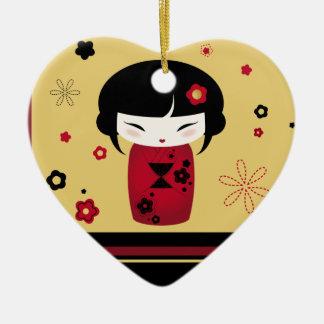 Red Kokeshi Ceramic Ornament