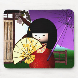 Red Kokeshi Doll Art Mouse Pad